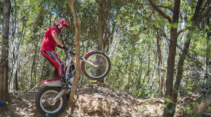 Frank Van Heerden during the CQ Moto Trials Club Day at Scrubby Creek, Calliope.
