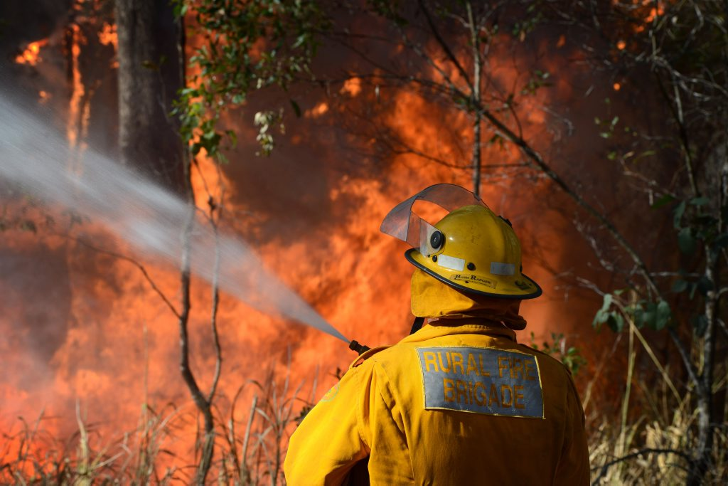 A Glenwood Rural Fire Brigade officer works to control a bushfire at Bauple that burnt out huge tracts of land.