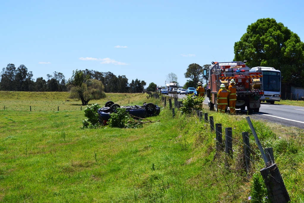 Emergency services have raced to a car accident on the Pacific Hwy, north of Ulmarra.