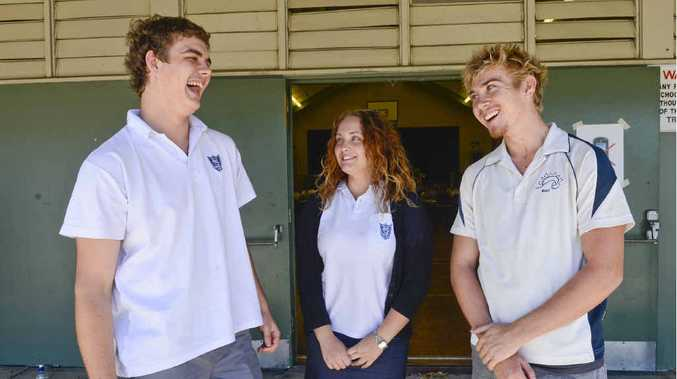 ONE DOWN: Sam Barnier, Emilia Blanch and Matt Ryan have a chat after walking out of their first HSC exam. Photo: Adam Hourigan