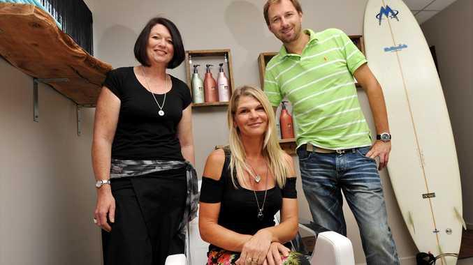 Owner Lesley Beasley (centre), Fiona Waterton and Mirek Zielinski from Fuz Hair in Moffat Beach.