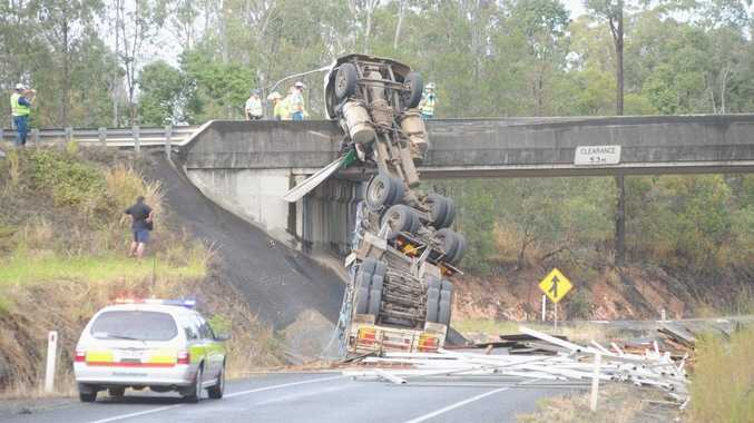 Robert Cook, 49, and his best friend, Darren John Lucas, 45 were killed when the semitrailer Mr Cook was driving lost control on an overpass on the Bruce Hwy, coming into Maryborough, on June 30, 2011.