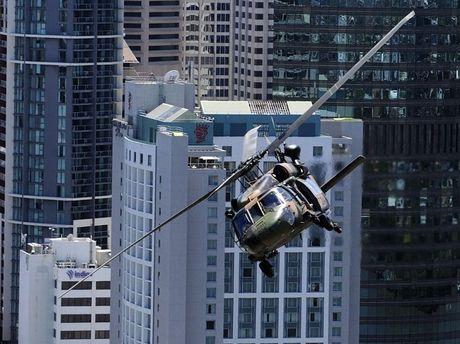 An Australian Army Black Hawk helicopter during a training flight above Brisbane.