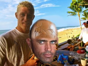 Mick Fanning has Kelly Slater right where he wants him. Photo: digitally manipulated.