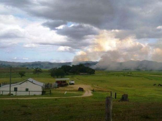 A bushfire burning at Commercial Rd, Murwillumbah.