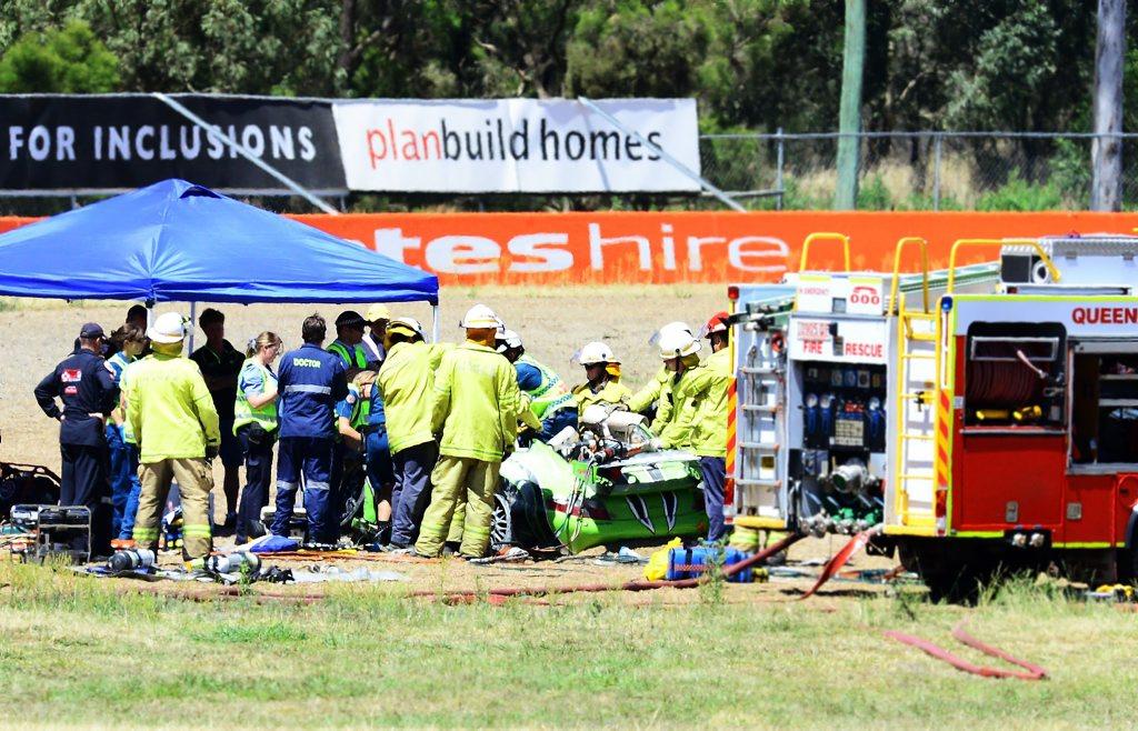 The crash scene at Willowbank raceway.