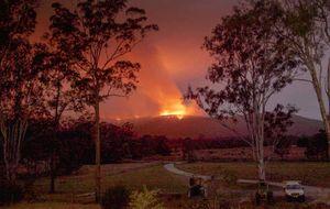 BURNING SUNSET: The fire at Nana Glen on Friday night.