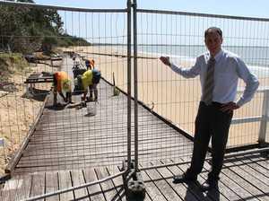 Torquay beach boardwalk being demolished