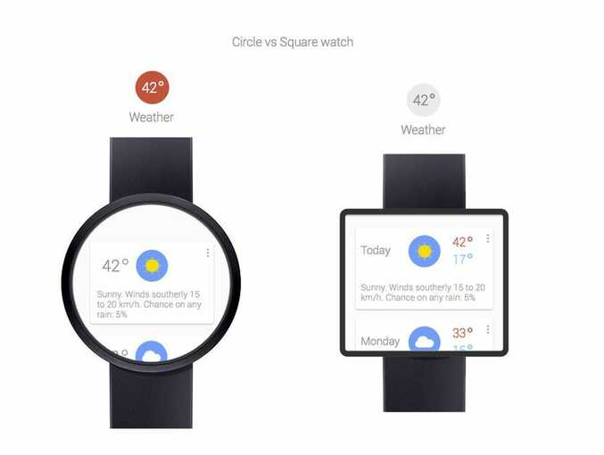Circle and square renditions of what the Google smart watch, nicknamed Gem, could look like.