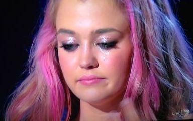 Jiordan Tolli sheds a tear after her elimination.