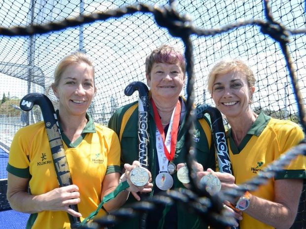 From left, Helen Rankin Jarvie of Wollongbar, Chris Ether of Tregeagle, and Jan Saul of Lennox Head have been selected for Australian Masters hockey teams.