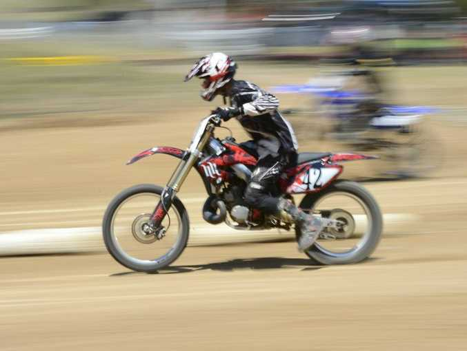 Cameron Rogers is a blur of motion at the 2012 Jacaranda Dirt Drags Photo Adam Hourigan / The Daily Examiner