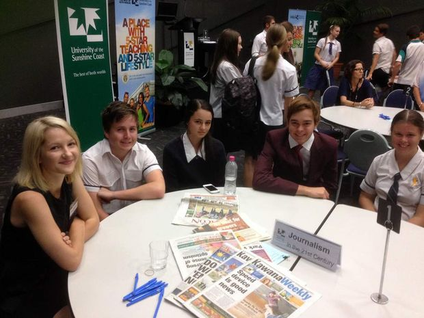 Kawana Weekly's Emily Ditchburn (left) talks to students about journalism in the 21st century.
