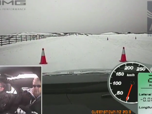Driving a Mercedes-Benz AMG on the Queenstown snow