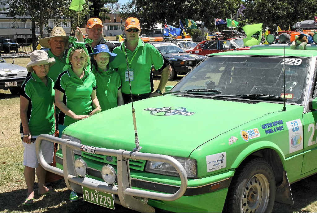 ON THE ROAD: Tonia, Cara and Andrew Voigt with Merv MacDonald and Adele MacDonald supporting Team Ryan in the 2013 esCarpade for Camp Quality.