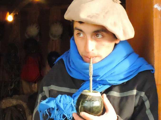 Baqueano (cowboy) at the Las Torres Hotel enjoys his early morning strong tea.