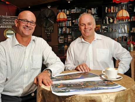 Ross Webb, development director at Reed Property Group, and Ken Reed, managing director of Reed Property Group, pictured at the Piano Bar on Ocean Street, Maroochydore, with plans for the new Ocean Street and Big Top development.