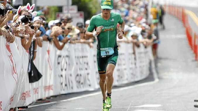 RUNNER-UP: Luke McKenzie starts the marathon, the final leg of the 2013 Ironman World Championship, in Hawaii last Sunday.