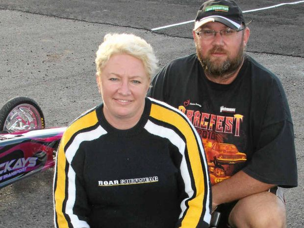 ENTHUSIASTS: Lisa and Mick Mundey, formerly of Gladfield, will drive from the Gold Coast for Dragfest 2013 this weekend.