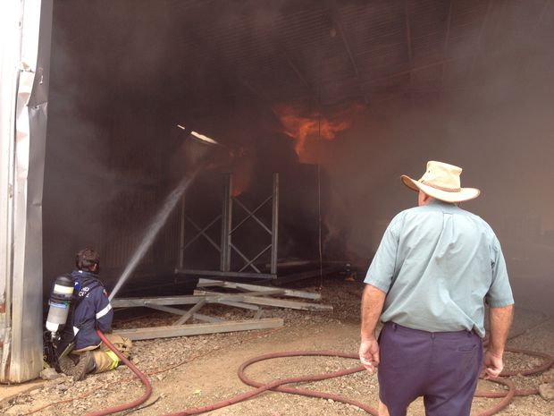 Fire destroys a shed at Maleny Dairies.