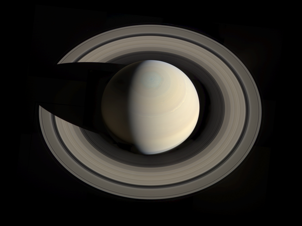 An image shows what Saturn looks like from the top. Photo: NASA/JPL-Caltech/Space Science Institute/G. Ugarkovic