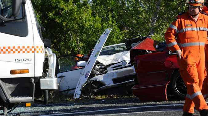 The scene of a three car crash on the Pacific Hwy near the Cowper turnoff on Saturday afternoon. Photo JoJo Newby / The Daily Examiner