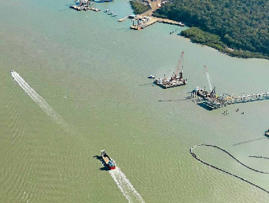 SAFETY FIRST? Aerial view of dredging in the Gladstone Harbour.