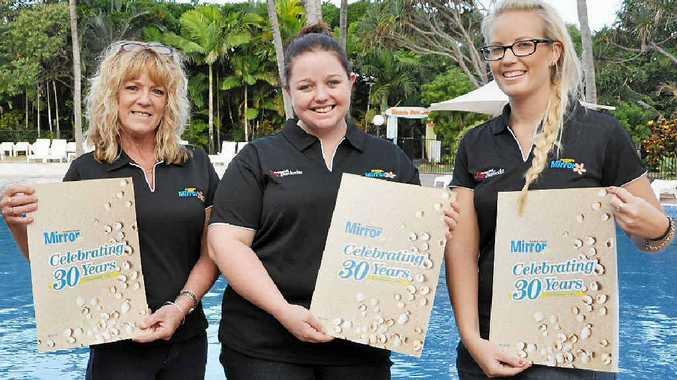 Capricorn Coast staff members Jenny Harwood, Anna Durbridge and Allira Condon celebrate the paper's 30th anniversary.