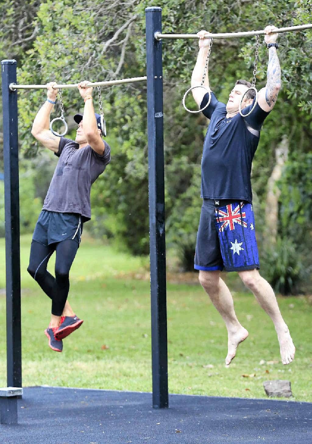MOTIVATED: Darcy Higgins trains with Victoria Cross recipient Ben Roberts-Smith.