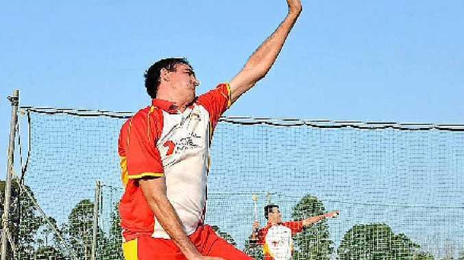 LEARNED A LOT LAST SEASON: Sunshine Coast Scorchers fast bowler Ashley Renouf sends one down at training.