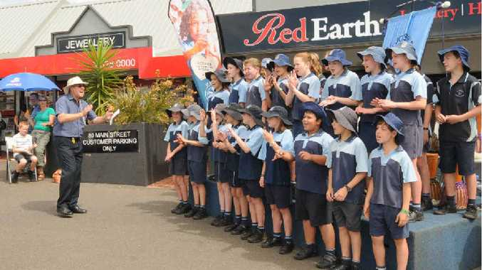 St Joeph's cathloc primery school of Alstonville perform at the markets for the start of the Alstonville show week. Photo Doug Eaton / The Northern Star
