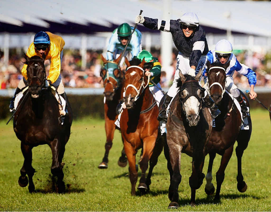 GROUP ONE GLORY: Nicholas Hall shows his joy as Fawkner takes out yesterday's Caulfield Cup ahead of Dandino, left.