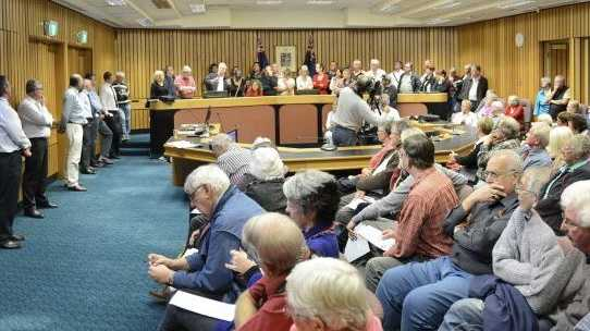 A panorama of the large crowd that filled the council chambers in Maclean for a meeting about proposed rate changes.