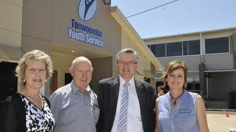 Board of management chairwoman Rhonda McGarry, Arenkay Building Design's Bob Steger, youth service patron Paul Hede and manager Michelle Wiersma at the opening of the new Toowoomba South Service building.