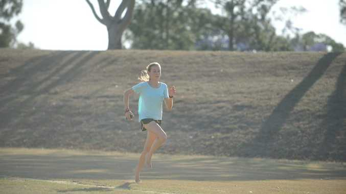 Grafton runner Beth Hickey, 15, at Terry West Oval, Junction Hill. Photo Matthew McInerney / Daily Examiner
