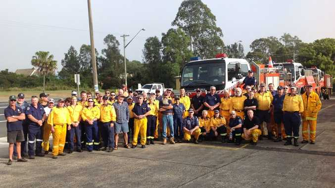Rural Fire Service fire-fighters at the Woodburn Emergency Services Building ready to depart for Penrith on Monday morning. Photo Contributed Superintendant Boyd Townsend RFS