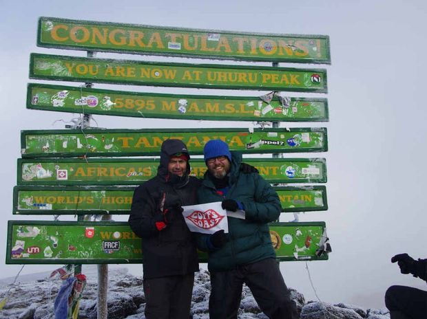 MISSION ACCOMPLISHED: Stve Forkin and Russ Holland on the summit of Mt Kilimanjaro.