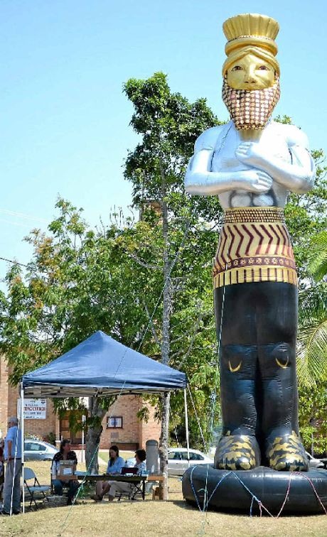 TOWERING STATUE: King Nebuchadnezzar is back but smaller and in Kyogle.