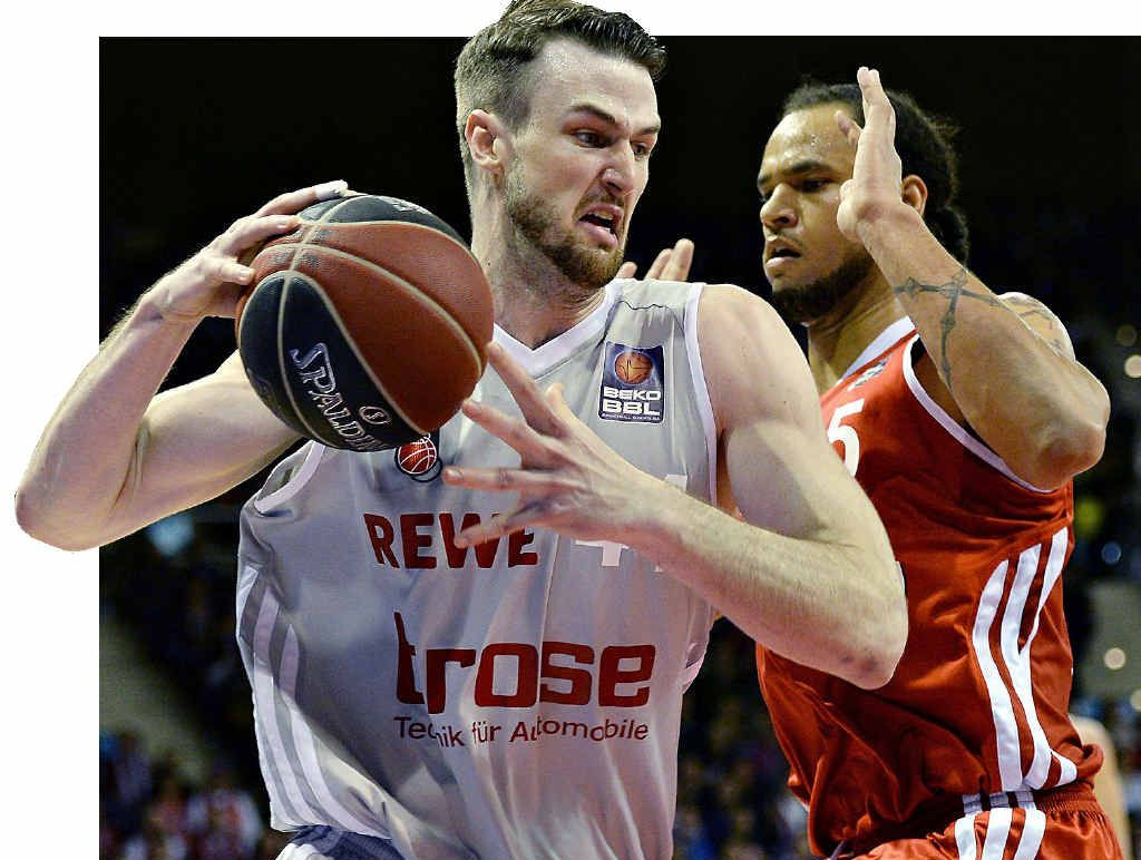 DETERMINED: Sydney Kings recruit AJ Ogilvy in action for Bamberg in Munich earlier this year.