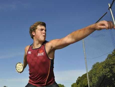 Matt Denny broke the 17 years discus record by more than a metre.