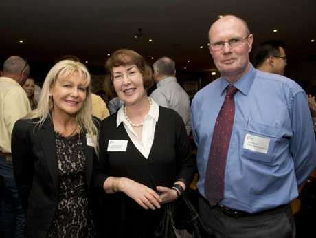 ( from Left ) Dale Easterbrook, Margaret Byrne and Lloyd Russell. TSBE export group seminar at Toowoomba Golf Club. Photo Nev Madsen / The Chronicle