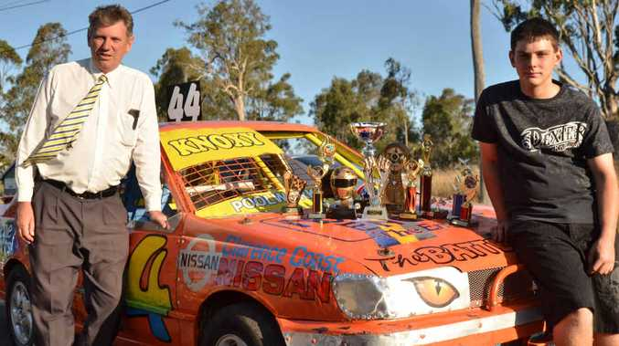 REVVED UP: Grafton's Aaron Knox with major sponsor Geoff Wicks of Clarence Coast Motors, has completed building his second N14 Nissan Pulsar #44 in readiness for the upcoming speedway season, stepping up to the National 4s division. Consistency and reliability were key to Aaron taking out the Junior Sedans Overall Pointscore and Junior Sedans Best Presented Car titles in 2012/13. Aaron's junior car is now for sale and ready to go, all it needs is someone to drive it. If you are interested, contact Aaron at the track. PHOTO: CONTRIBUTED