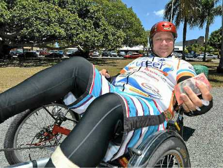 Warren Maag is riding his recumbent bike to raise money for the Children's Medical Research Institute.
