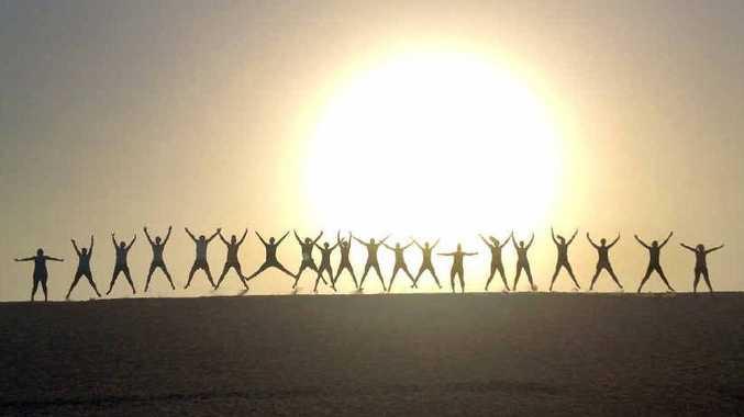 Melinda Bingley took this photo of participants performing star jumps at her morning bootcamp at Currimundi Lake.