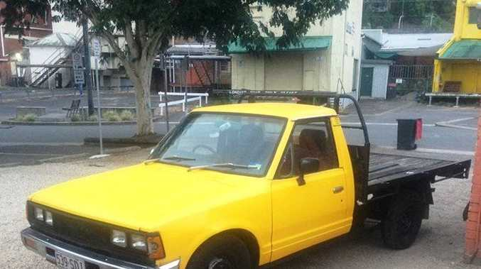 The yellow Datsun ute allegedly stolen from Kingscliff on the night of October 22 or morning of October 23.