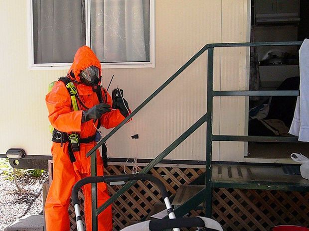 Hazmat crews rendered a cabin safe at Woolgoolga where police today found a meth lab operating inside.