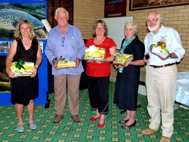 Water Watch volunteers Bob Hood, Colin and Cath Robinson, Ian Lewis and Harry Jamieson were presented with framed photos of the Mary River in recognition of ten years continuous data collection.
