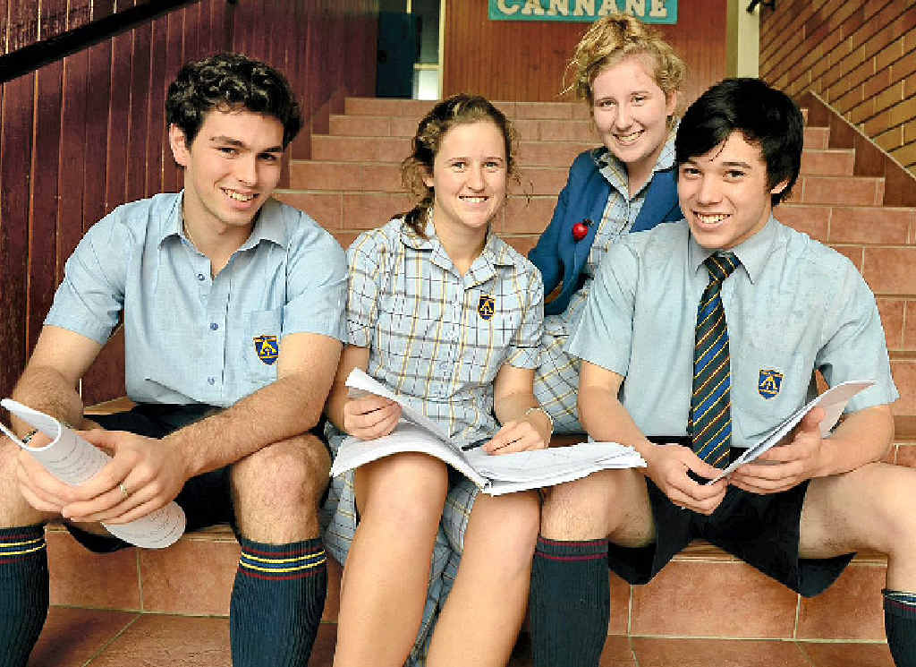 TESTING TIMES: Trinity students, from left, Max Harlen, 18, Abbie Heffernan, 18, Isabella Zappala, 18, and Will Young, 18.