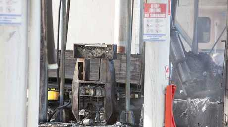 The smoldering aftermath of a truck fire at BP Goondiwindi.