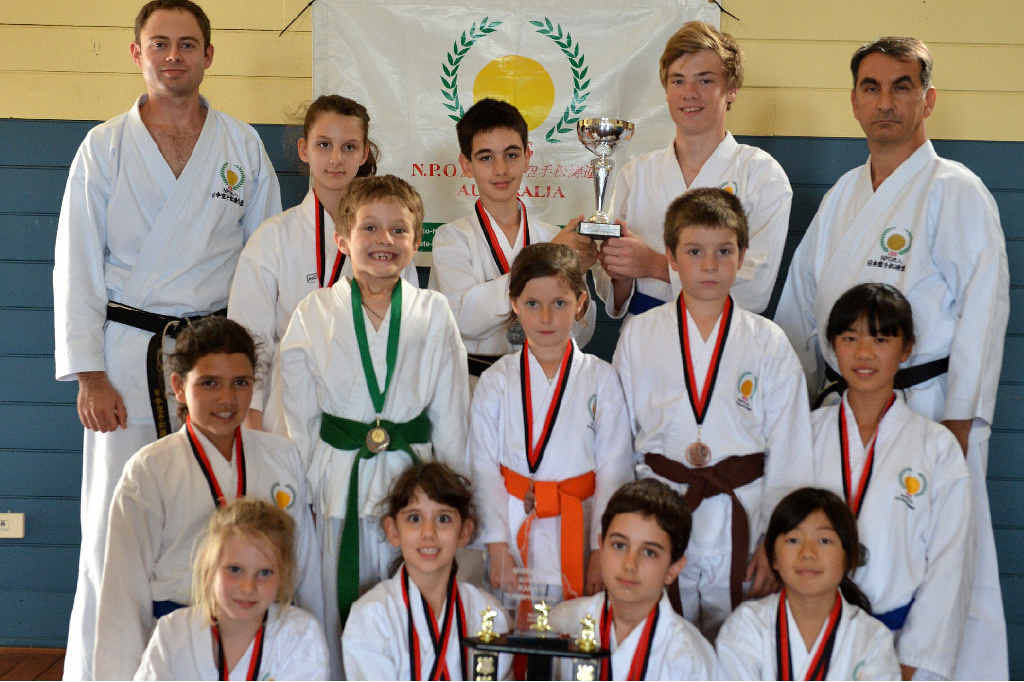 JKS KARATE: Back from left Andrew Quinn, Daria and David Mostofizadeh, James Robinson and Hamid Mostofizadeh. Middle Lakkari Mason, Clancy Harm, Chloe Smart, Jayden Raucci and Momoka Matsuzaki. Front Tessa Krogh, Delara and Dustin Mostofizadeh, and Sakura Matsuzaki.